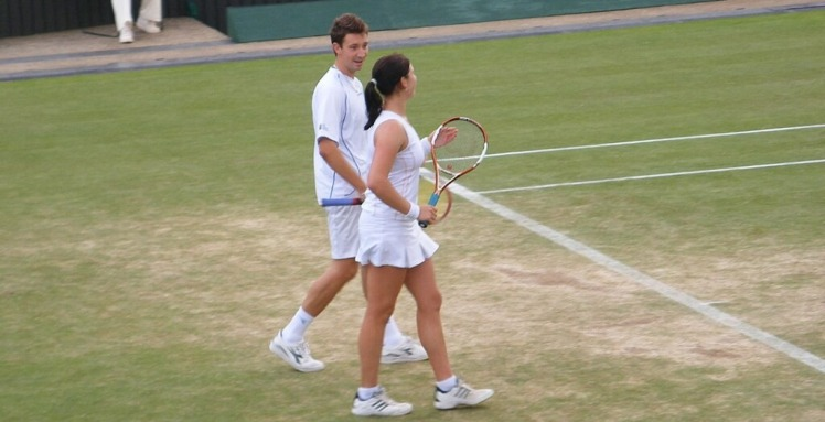 Alex Bogdanovic and Melanie South in mixed-doubles action at Wimbledon 2007