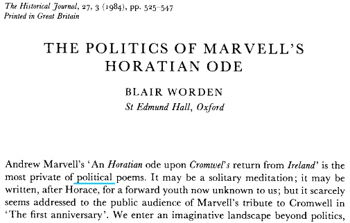 Blair Worden - The Politics of Marvell's Horatian Ode