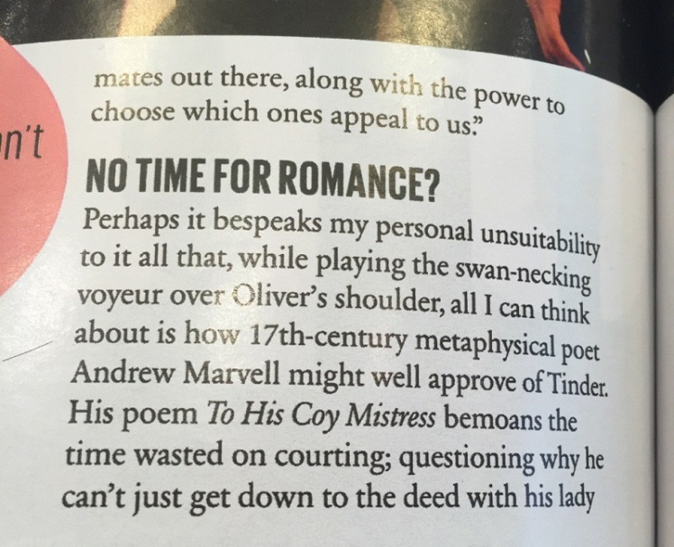 Cosmopolitan writer thinks of Andrew Marvell when writing about Tinder