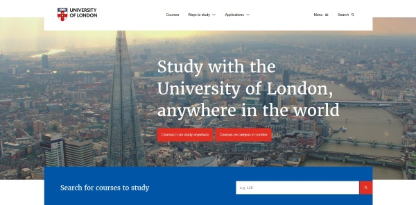 University of London website homepage in 2017