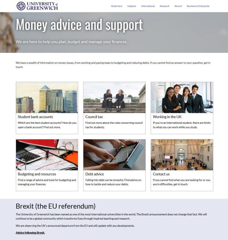 Money Advice, University of Greenwich, New