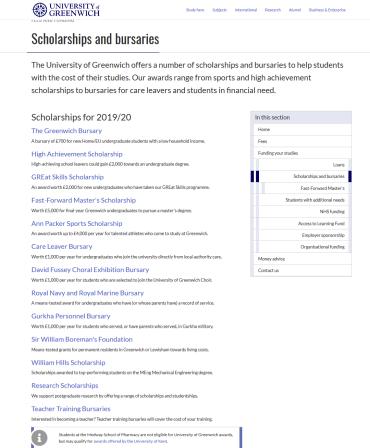 Scholarships and Bursaries, University of Greenwich, New