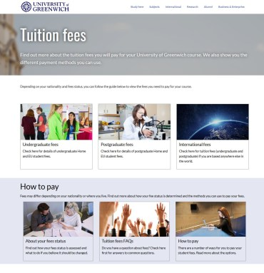 Tuition Fees, University of Greenwich, New