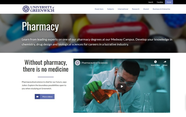Pharmacy at the University of Greenwich (Subject page)
