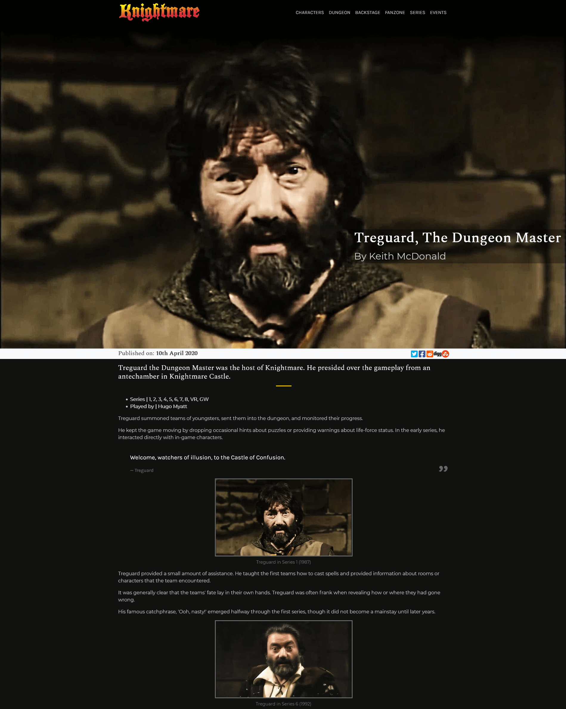 New character pages for the new Knightmare.com (launched 2020)