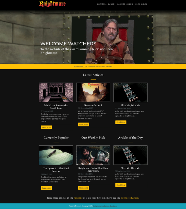 The homepage for the new Knightmare.com (launched 2020)