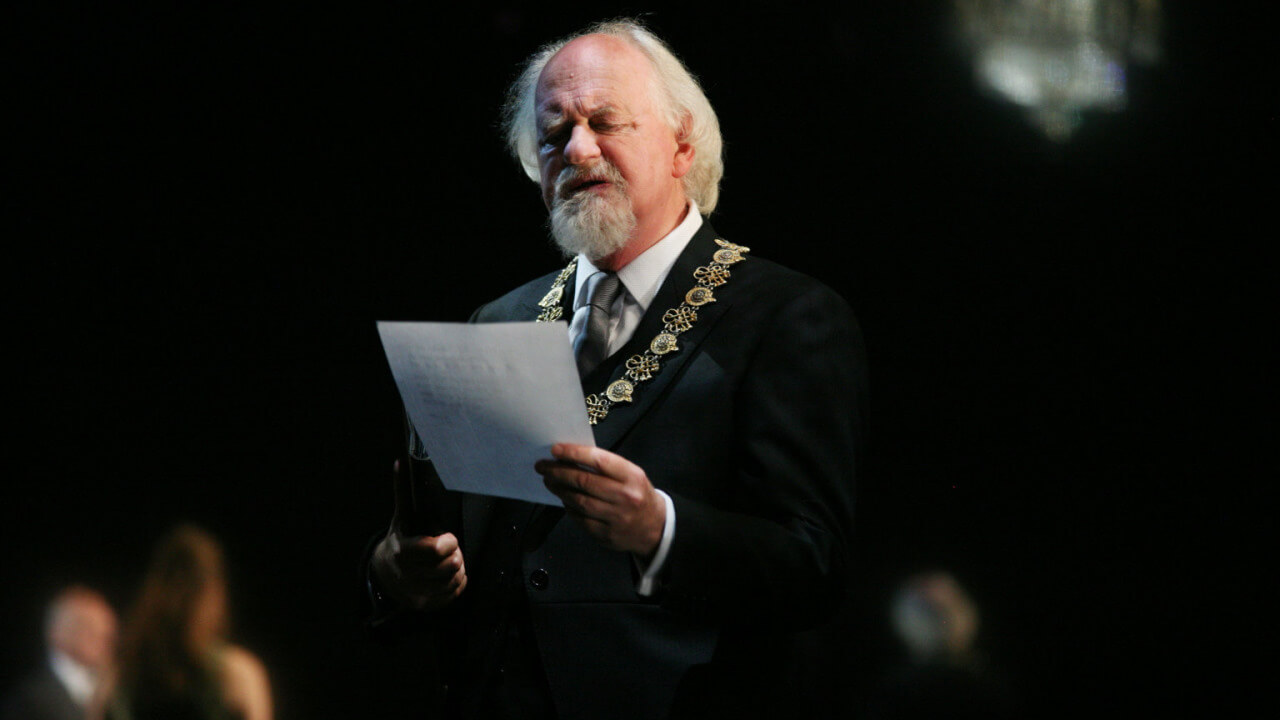 Polonius (Oliver Ford Davies) in the RSC Hamlet, shown on the BBC