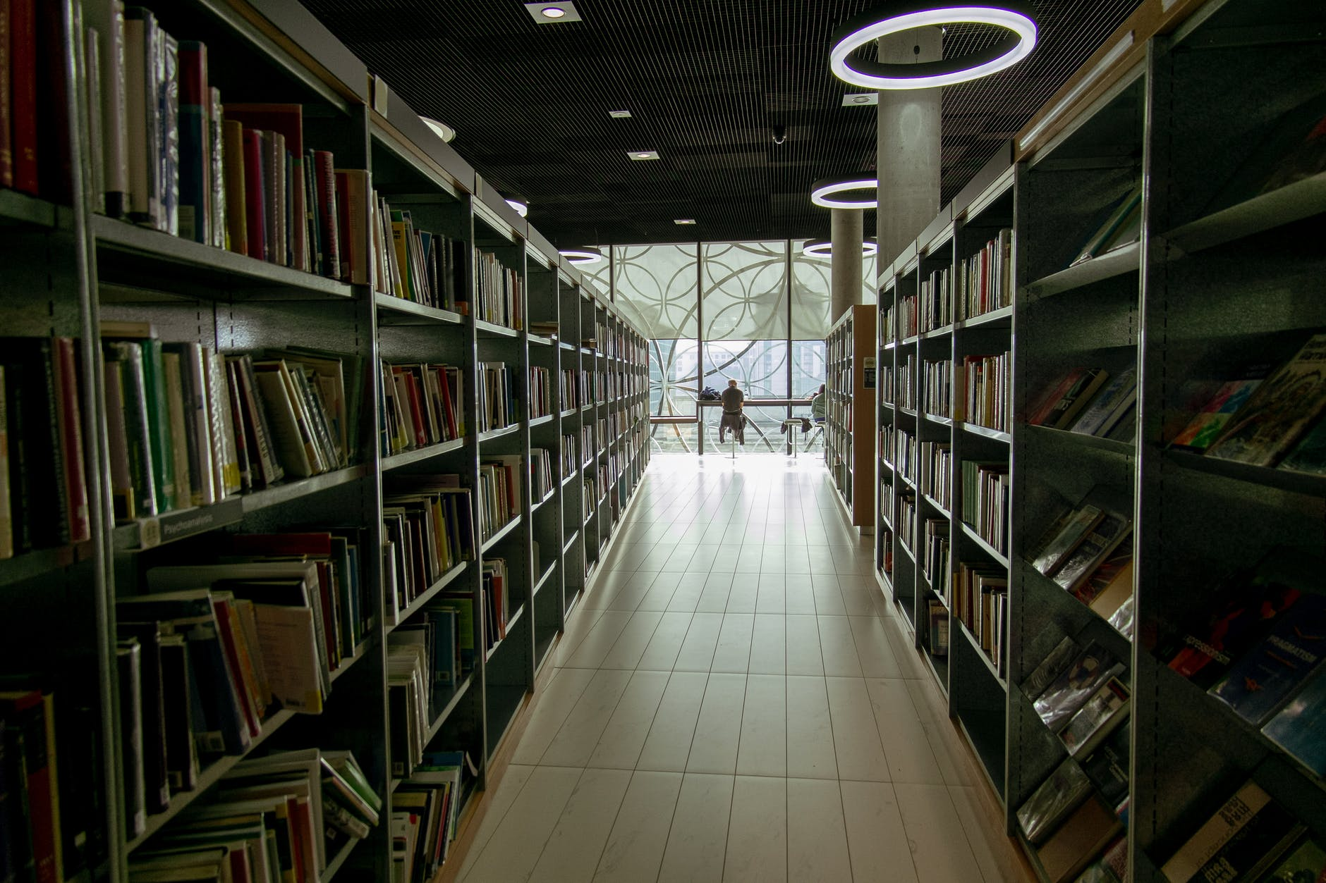 Book shelving / stacks in a library.